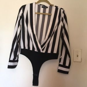 Pretty little thing striped plunging neckline body